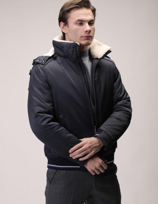 Куртка синяя (с воротником)