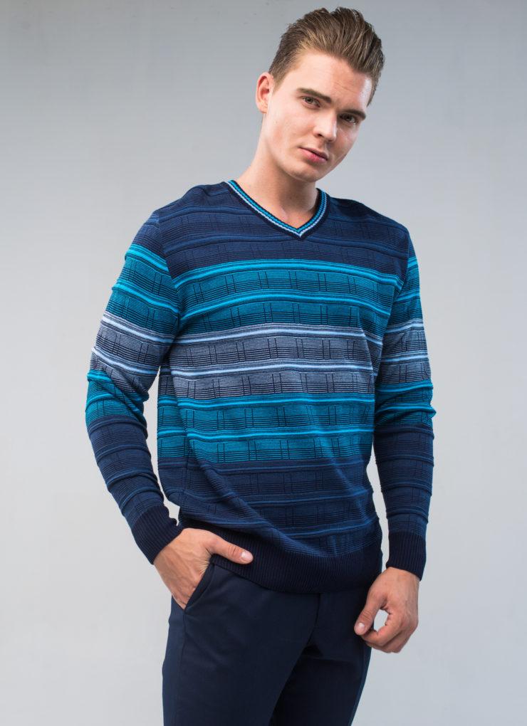 Джемпер мужской (синий в полоску)