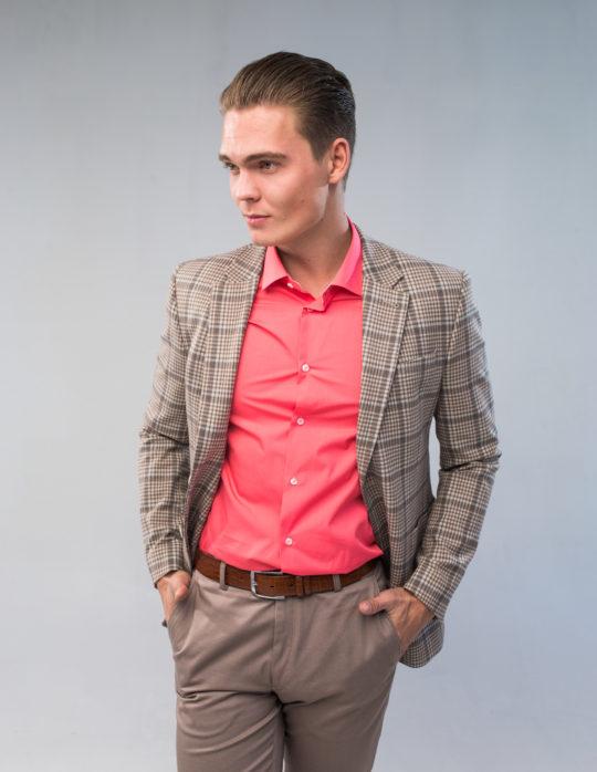 Пиджак мужской (коричневый в клетку)
