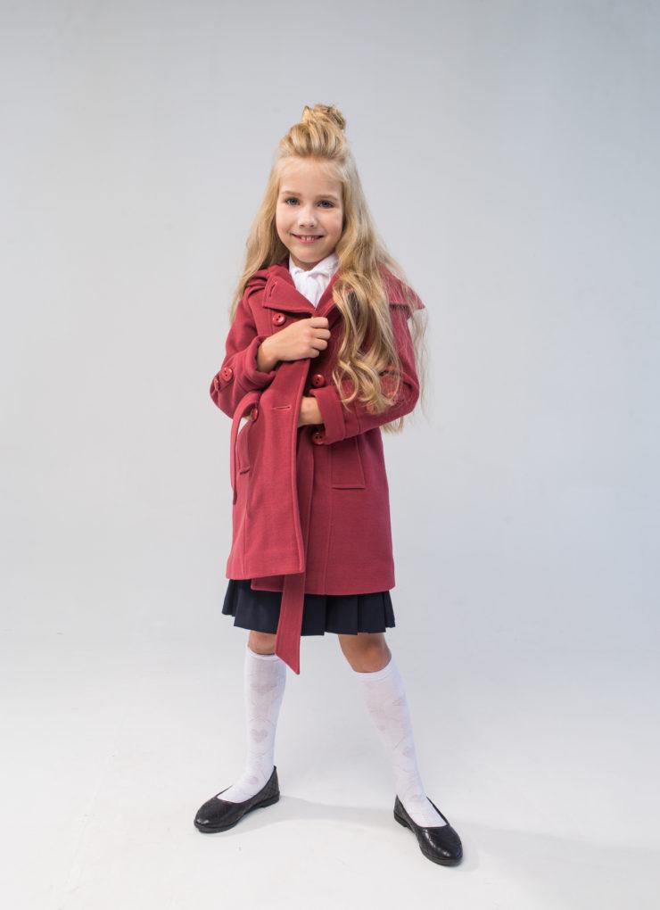 Пальто для девочки (терракотовое)