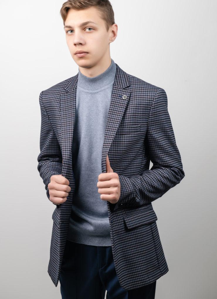 Пиджак мужской (серый в клетку)